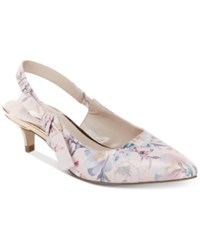Nanette Lepore By Rhona Slingback Kitten Heels Created For Macy's Women's Shoes Pink Floral