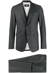 Dsquared2 Checked Formal Suit Grey