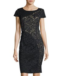 Laundry By Shelli Segal Short Sleeve Laser Cut Sheath Dress Black