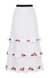 Vivetta Embroidered Remora Tiered Poplin Midi Skirt White