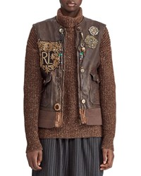 Ralph Lauren 50Th Anniversary Hamlin Leather Vest W Patches Beads And Fringe Brown