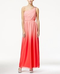 Amy Byer Bcx Juniors' Embellished Ruched One Shoulder Ombre Gown Coral