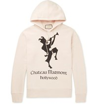 452255d8b Gucci Oversized Printed Loopback Cotton Jersey Hoodie Neutral