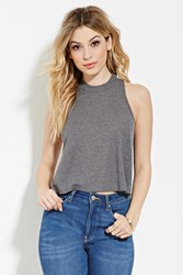 Forever 21 Micro Ribbed Knit Tank Charcoal