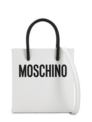 Moschino Logo Printed Leather Shoulder Bag White