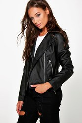 Boohoo Faux Leather Biker Jacket With Quilt Detail Black