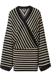 Balmain Wrap Effect Metallic Striped Stretch Jersey Mini Dress Black