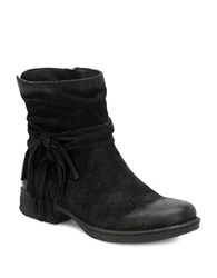 Born Cross Fringed Slouched Distressed Leather Ankle Boots Black