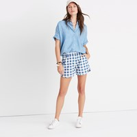 Madewell Pull On Shorts In Gingham Check Gwen Check