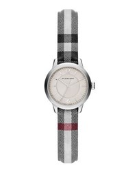 Burberry 26Mm Round Stainless Watch With Check Strap Silver