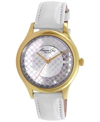 Kenneth Cole New York Women's White Leather Strap Watch 38Mm 10026008