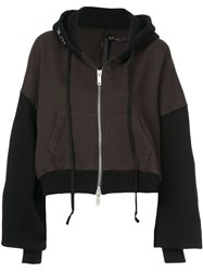 Unravel Project Two Tone Cropped Hoodie Brown