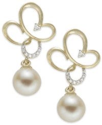 Macy's 14K Gold Earrings Cultured Freshwater Pearl And Diamond Accent Earrings 7Mm White