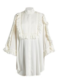 Ellery Runaways Ruffle Trimmed Blouse White