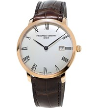 Frederique Constant Fc 306Mr4s4 Slimline Gold Plated Stainless Steel And Leather Watch