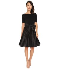 Nue By Shani Full Fashioned Knit Dress With Dupioni Skirt Black Women's Dress
