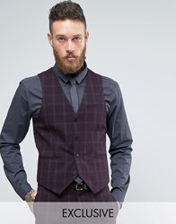 Only And Sons Skinny Waistcoat In Check Purple Navy