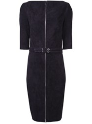 Jitrois Velvet Belted Zip Front Dress Pink And Purple