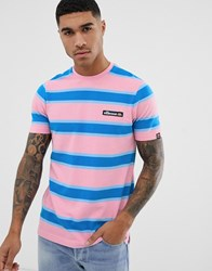 Ellesse Pluto Retro Striped T Shirt In Pink