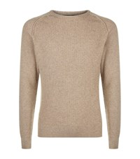 Harrods Ribbed Raglan Sleeve Sweater Brown