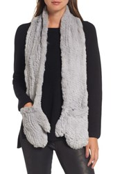 Love Token Women's Genuine Rabbit Fur Scarf With Built In Mittens Grey