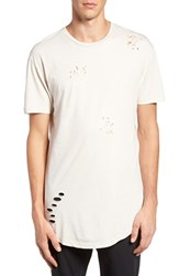 Topman Men's Ripped Longline Crewneck T Shirt