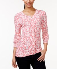 Charter Club Damask Print Cardigan Sweater Only At Macy's Strawberry Ice