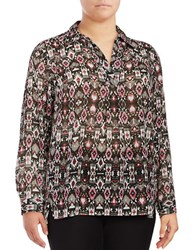 Jones New York Plus Fuschia Tapestry Print Blouse