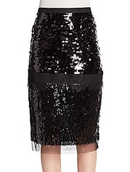 Bcbgmaxazria Cristal Mixed Sequin And Lace Pencil Skirt Black