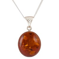 Be Jewelled Amber Pendant Necklace Cognac