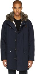 Yves Salomon Navy Fur Lined Long Parka