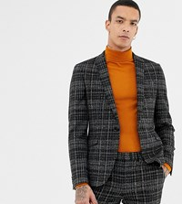 Heart And Dagger Skinny Suit Jacket In Textured Check Black