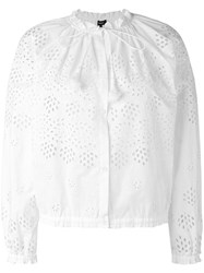 Theory Embroidered Bomber Jacket Women Cotton S White