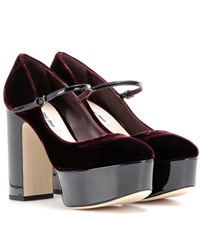 Miu Miu Patent Leather And Velvet Platform Pumps Red
