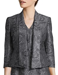 Nipon Boutique Open Front Swirl Textured Jacket Silver