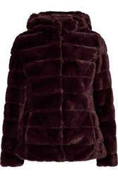 Line Quilted Faux Fur Hooded Coat Burgundy