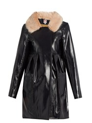 Shrimps Locket Faux Patent Leather Coat Navy Multi