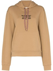 Burberry Poulter Logo Embroidered Hoodie Brown