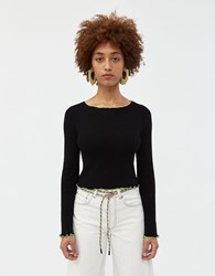 Which We Want Lolita Contrast Trim Sweater Black Green