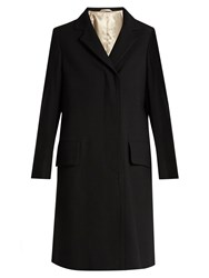 Christophe Lemaire Single Breasted Notch Lapel Wool Coat Black