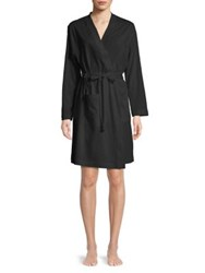 Lord And Taylor Plus Cotton Self Tie Robe Black