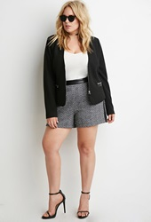 Forever 21 Faux Leather Trimmed Tweed Shorts Black White