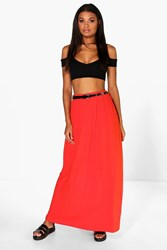 Boohoo Viscose Jersey Belted Maxi Skirt Orange