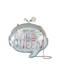 Sophia Webster Ice Queen Speech Bubble Clutch Bag Cotton Calf Leather Sheep Skin Shearling Polyester Metallic