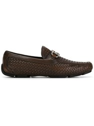 Salvatore Ferragamo Woven Loafers Brown