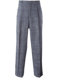 E. Tautz Plaid Pleated Tapered Trousers Blue