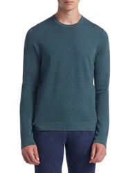 Saks Fifth Avenue Collection Tech Merino Wool Crewneck Sweater Taupe Green Light Blue