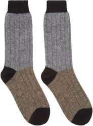 Haider Ackermann Grey And Taupe Alpaca Socks