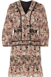 Anna Sui Embellished Printed Silk Chiffon And Cotton Blend Voile Mini Dress Pink