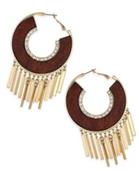 Thalia Sodi Gold Tone Crystal And Wood Fringed Hoop Earrings Only At Macy's Gold Brown
